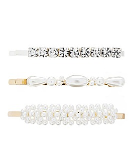 Gold Plated Crystal And Pearl Mixed 3 Pack Clips