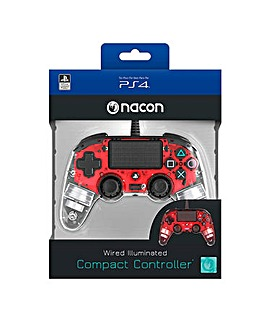 PS4 Wired Clear Red Controller