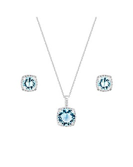 Sterling Silver 925 Cubic Zirconia Aqua Square Halo Set - Gift Boxed