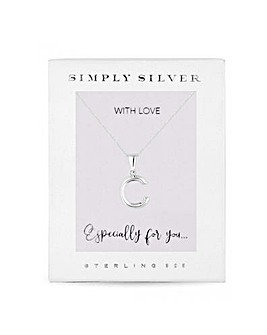 Simply Silver Alphabet Necklace Letter C