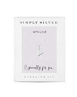 Simply Silver Alphabet Necklace Letter K