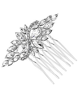 Silver Plated Clear Crystal Navette Hair Comb