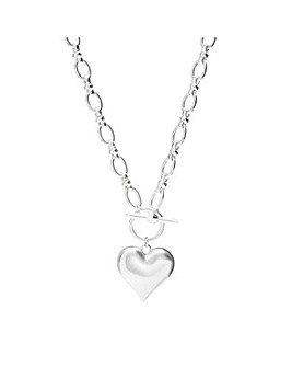 Silver Plated Molten Heart T Bar Pendant Necklace