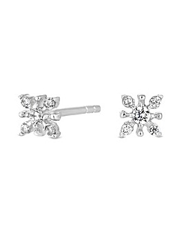 Sterling Silver 925 White Cubic Zirconia Flower Stud Earring