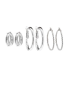 Silver Plated Rope Effect Hoop Earrings - Pack Of 3
