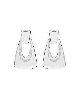 Mood Silver  Texture Metal Drop Earrings