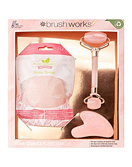 Brushworks Rose Quartz Roller Spa Set