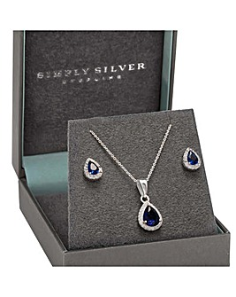 Sterling Silver 925 Cubic Zirconia Pear Halo Set
