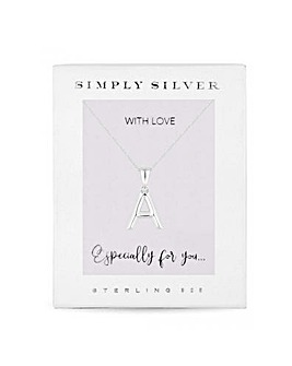 Simply Silver Alphabet Necklace Letter A