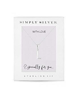 Simply Silver Alphabet Necklace Letter L