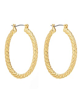 Mood Gold Rope Texture Oavl Hoop Earring