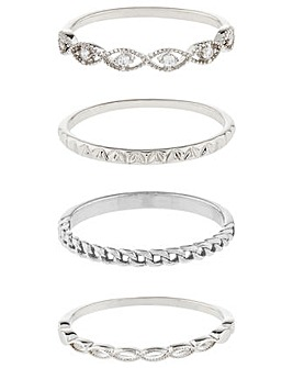 Accessorize Z Pl 4X Sparkle Ring Set