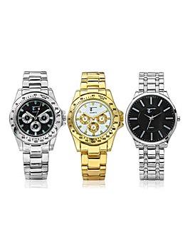 Gents Trio Bracelet Watch Set