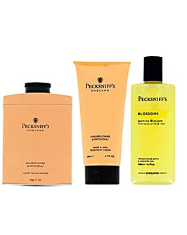 Pecksniffs Talc Handcream Bodywash Orange Pack