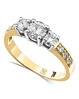Moissanite 9 Carat Gold 1 Carat Trilogy Ring With Stone Set Shoulders