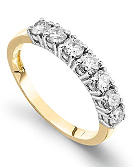 Moissanite 9 Carat Gold 1 Carat Half Eternity Ring