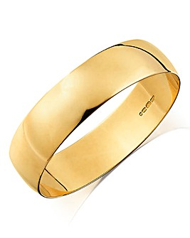Gents 9ct Yellow Gold D Shaped Plain Wedding Band