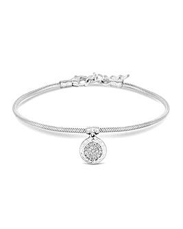 Sterling Silver 925 Cubic Zirconia Pave Charm Snake Bracelet