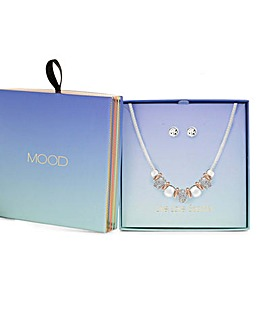 Mix Plate Crystal Link Section Necklace And Earring Set - Gift Boxed