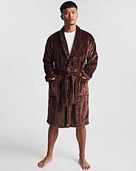 Sherpa Fleece Hooded Dressing Gown
