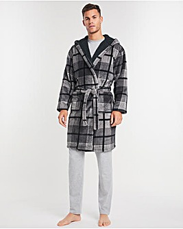 Hooded Check Fleece Lined Dressing Gown