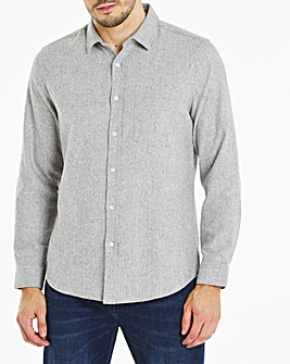 Grey Long Sleeve Plain Flannel Shirt Long