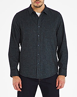 Navy Long Sleeve Plain Flannel Shirt Long