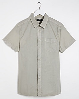 Light Khaki Short Sleeve Poplin Shirt Long