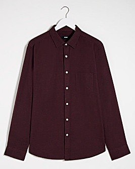 Wine Long Sleeve Plain Flannel Shirt
