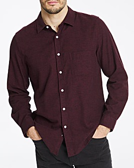 Wine Long Sleeve Plain Flannel Shirt Long