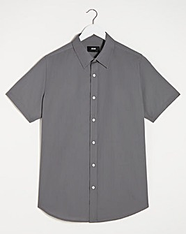 Grey Short Sleeve Formal Shirt Long