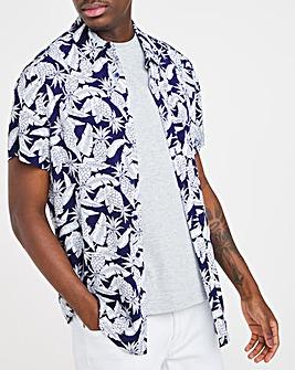 Printed Short Sleeve Viscose Shirt Long