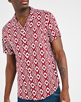 Red Print Short Sleeve Revere Collar Shirt Long