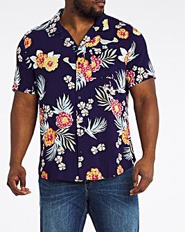 Navy Print Short Sleeve Revere Collar Shirt Long