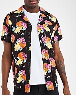 Printed Short Sleeve Revere Collar Shirt Long