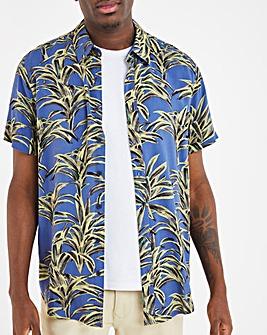 Navy Print Short Sleeve Viscose Shirt Long