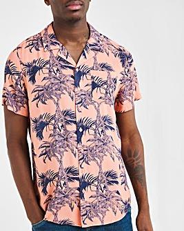 Palm Print Short Sleeve Revere Collar Shirt Long