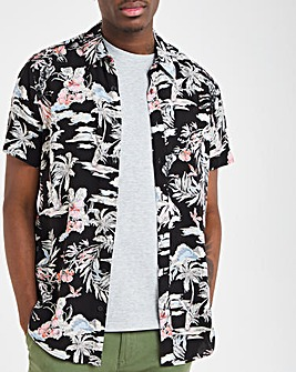 Black Print Short Sleeve Viscose Shirt Long