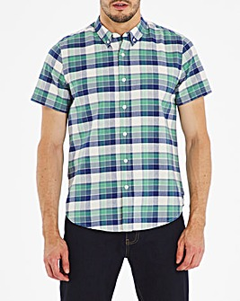 Green Check Short Sleeve Oxford Shirt