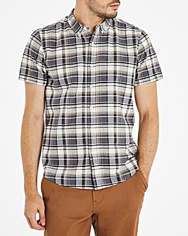 Khaki Check Short Sleeve Oxford Shirt