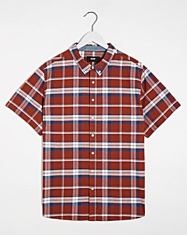Red Check Short Sleeve Oxford Shirt