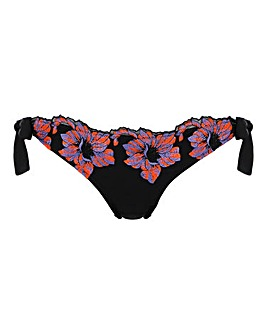 Ann Summers Pantar Black Embroidered Tie Side Bikini Bottoms
