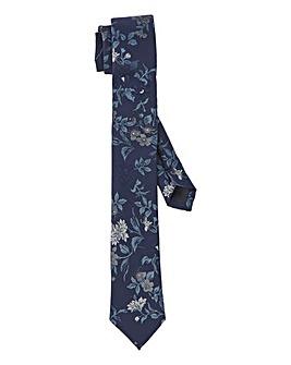 Navy Slim Floral Print Tie