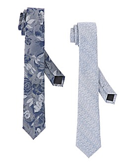 Pack of 2 Print/Plain Ties