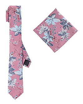 Floral Slim Tie with Pocket Square