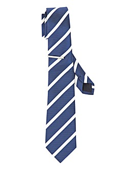 Blue Stripe Tie with Metal Tie Bar