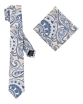 Printed Slim Tie with Pocket Square