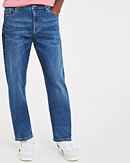Stonewash Straight Fit Stretch Jeans