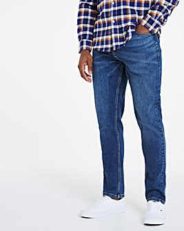 Stonewash Tapered Fit Stretch Jeans