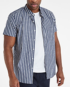 Navy Fine Stripe Poplin Short Sleeve Shirt